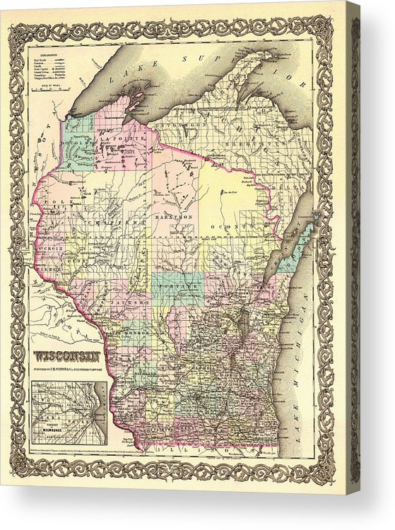 Map Acrylic Print featuring the drawing Antique Map Of Wisconsin 1855 by Mountain Dreams