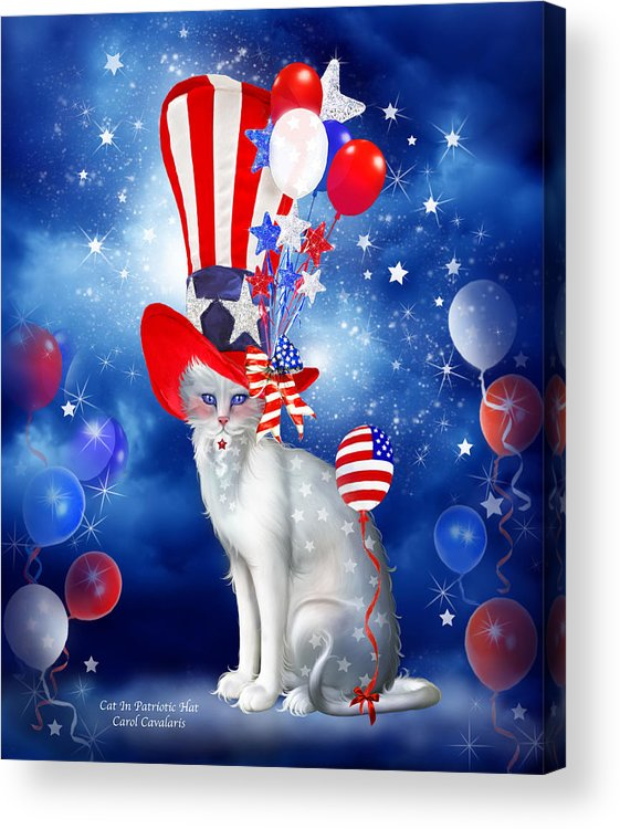 Carol Cavalaris Acrylic Print featuring the mixed media Cat In Patriotic Hat by Carol Cavalaris