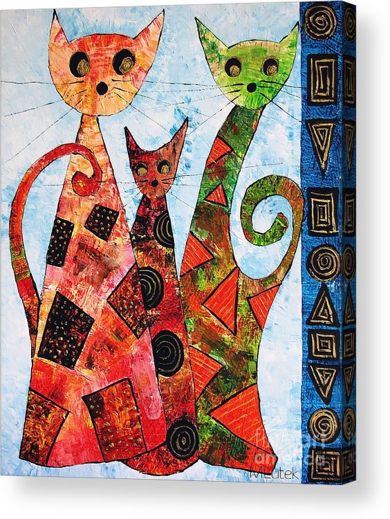 Cats Acrylic Print featuring the painting Cats 737 - Marucii by Marek Lutek