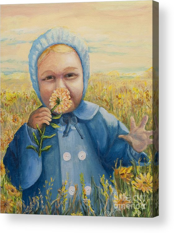 Baby Acrylic Print featuring the painting Curiosity by Jeanne Wrede