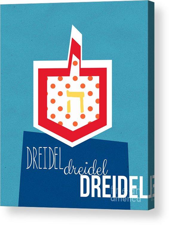 Dreidel Acrylic Print featuring the mixed media Dreidels by Linda Woods