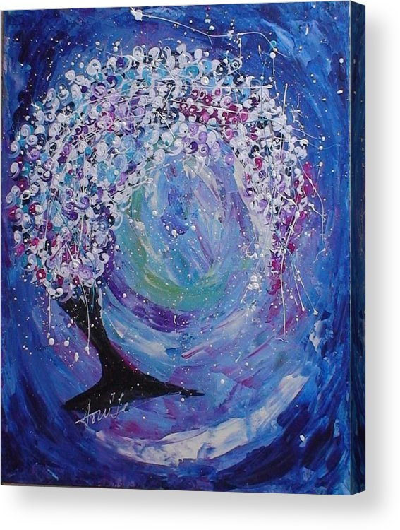 Abstract Acrylic Print featuring the painting Happy Tree by Maia Oliver