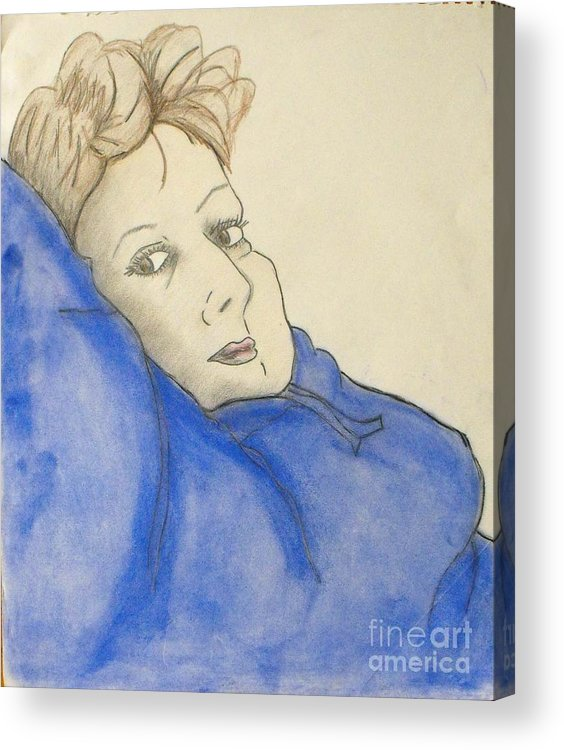 Woman Laying Back Acrylic Print featuring the mixed media Mikki In Blue by Catherine Ratliff