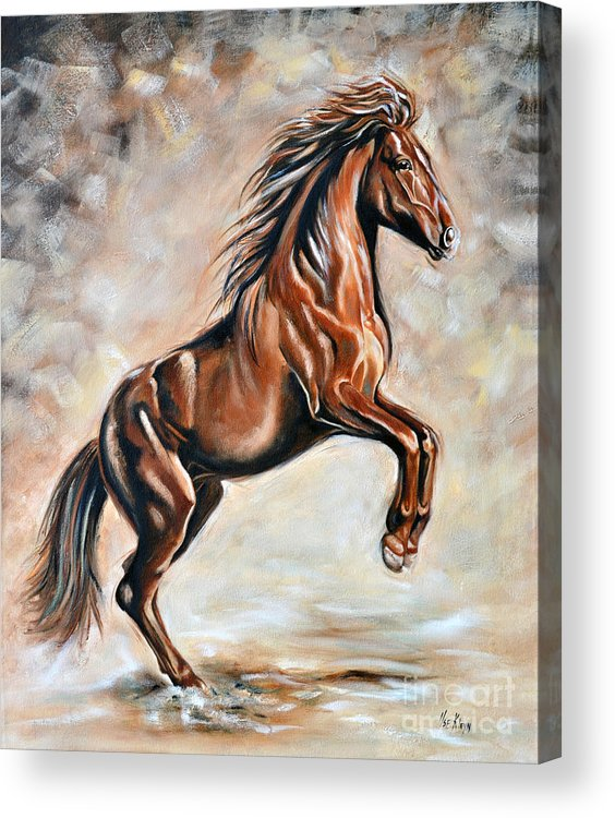 Horse Acrylic Print featuring the painting Red Beauty by Ilse Kleyn