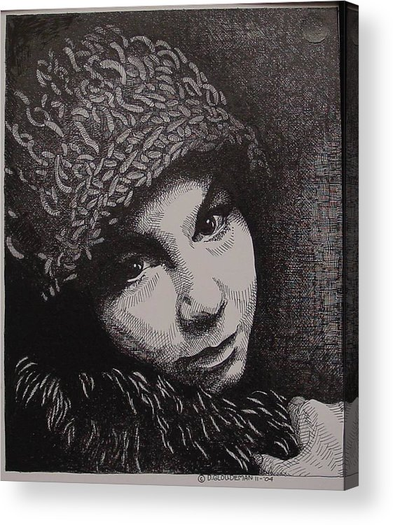 Portraiture Acrylic Print featuring the drawing Rena by Denis Gloudeman