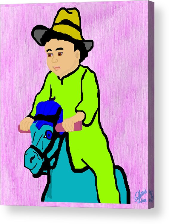 Toddler Acrylic Print featuring the drawing Ride The Horsey by Pharris Art
