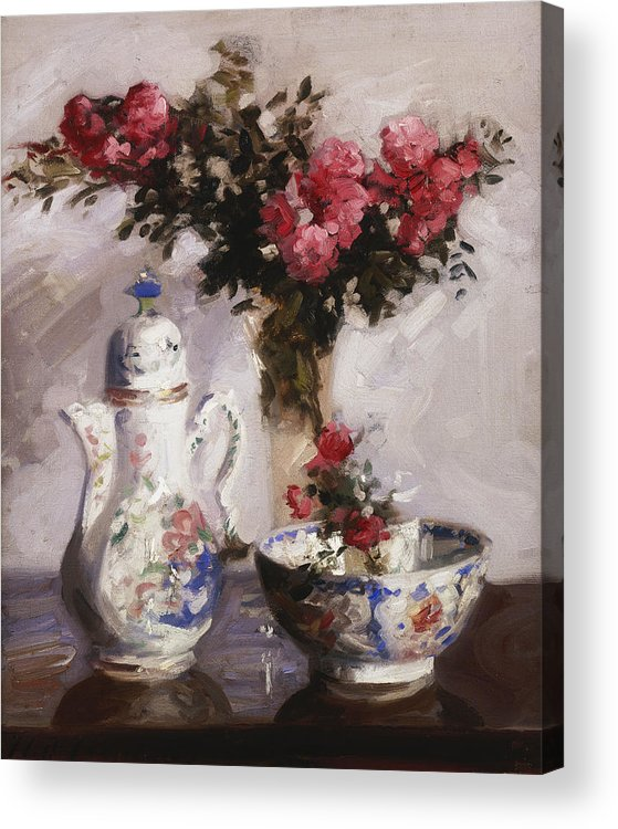 Cadell Acrylic Print featuring the painting The Famille Rose Coffee Pot by Francis Campbell Boileau Cadell