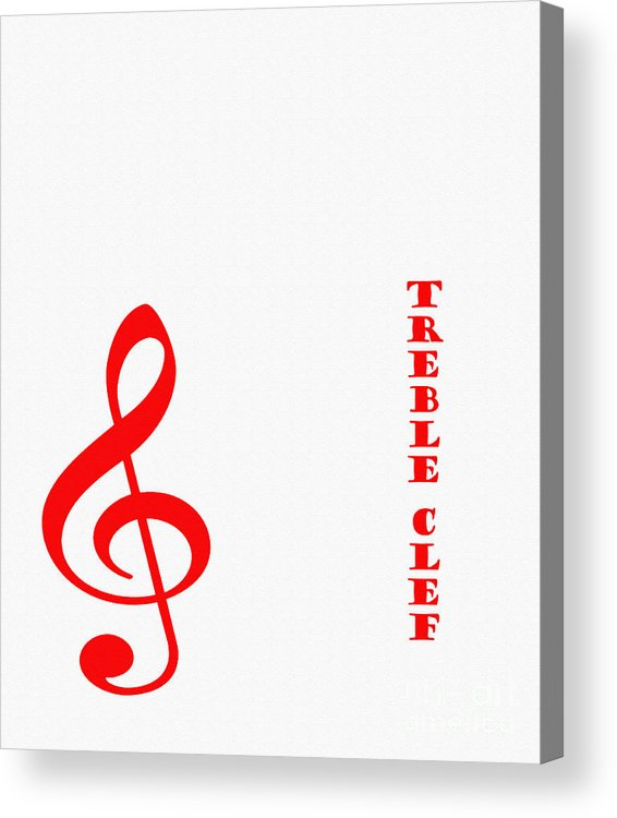 Treble Clef Music Symbol Red Acrylic Print By Barbara Griffin