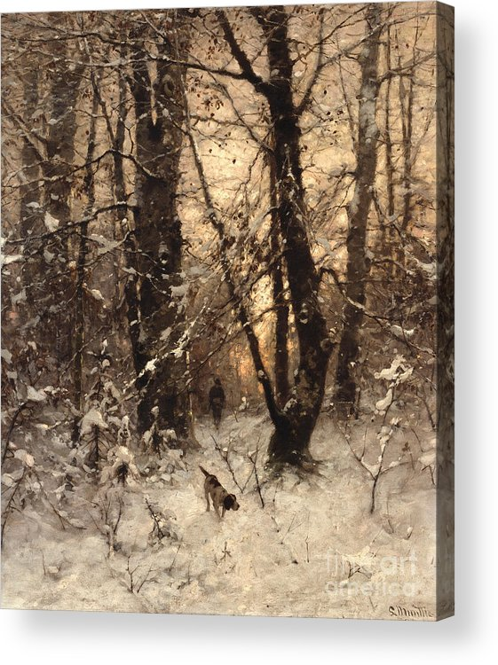 Winter Acrylic Print featuring the painting Winter Twilight by Ludwig Munthe