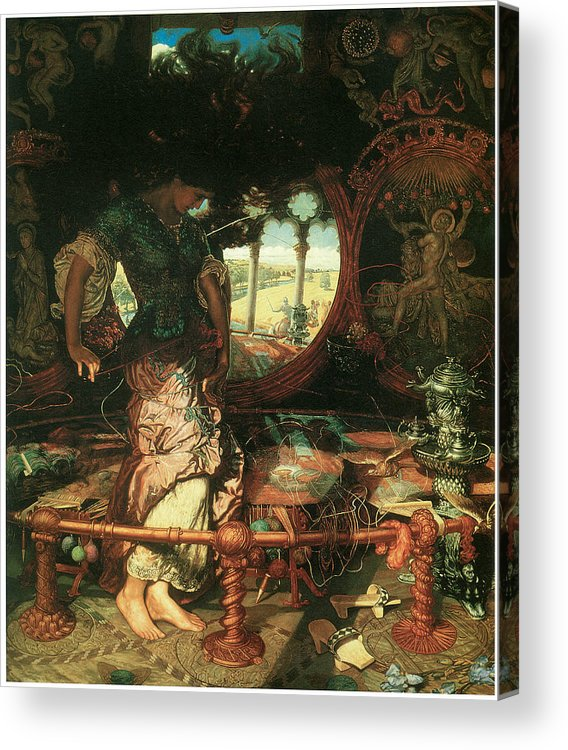 William Holman Hunt Acrylic Print featuring the painting The Lady Of Shalott by William Holman Hunt