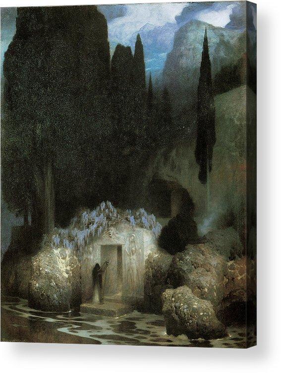 Ferdinand Keller Acrylic Print featuring the painting Bocklin's Tomb by Ferdinand Keller