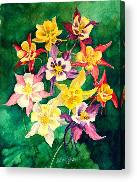 Columbines Acrylic Print featuring the painting Columbines by Bernadette Kazmarski