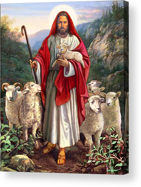 Jesus Acrylic Print featuring the painting Good Shepherd by Lash Larue