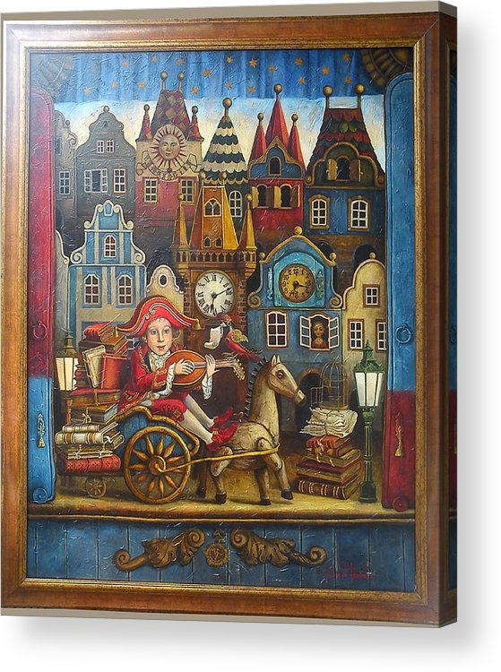Music Acrylic Print featuring the painting The Little Mozart by Victoria Francisco