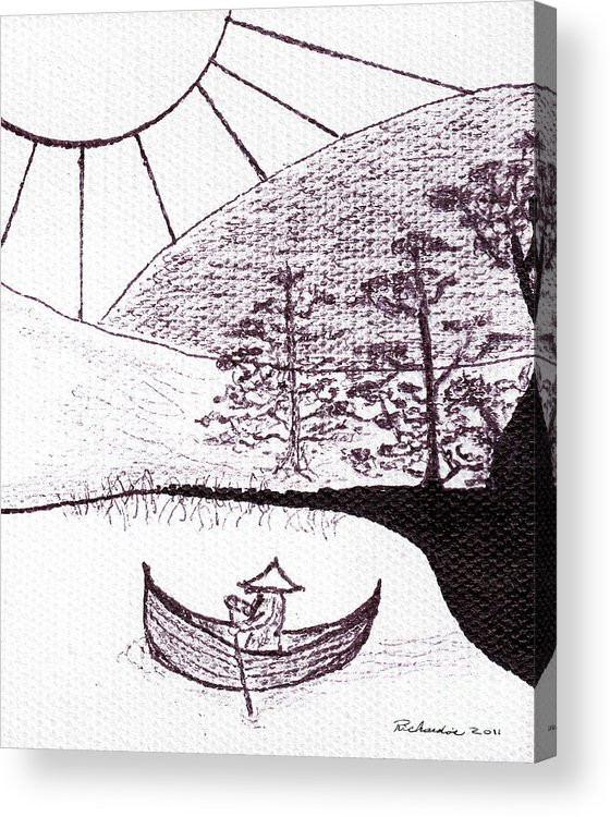 Abstract Acrylic Print featuring the painting Zen Sumi Asian Lake Fisherman Black Ink On White Canvas by Ricardos Creations