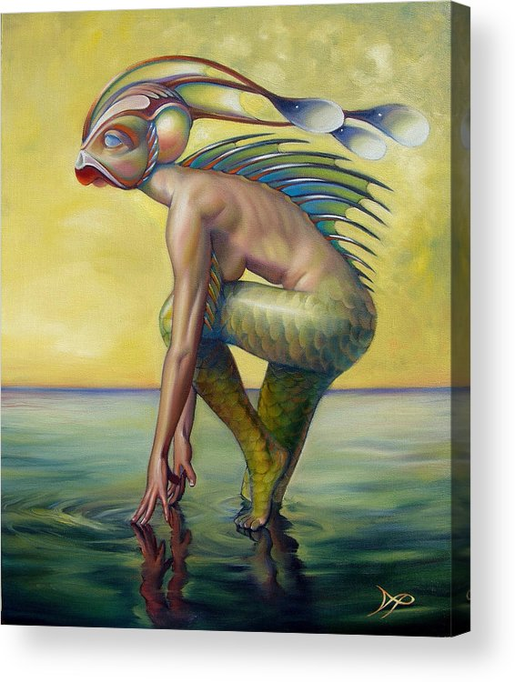 Mermaid Acrylic Print featuring the painting The Finandromorph by Patrick Anthony Pierson