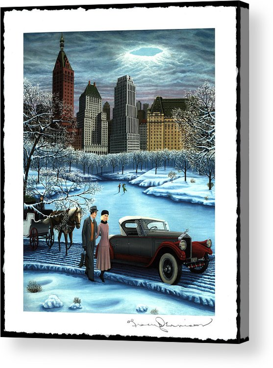 Plaza Hotel Acrylic Print featuring the painting Winter Wonderland by Tracy Dennison