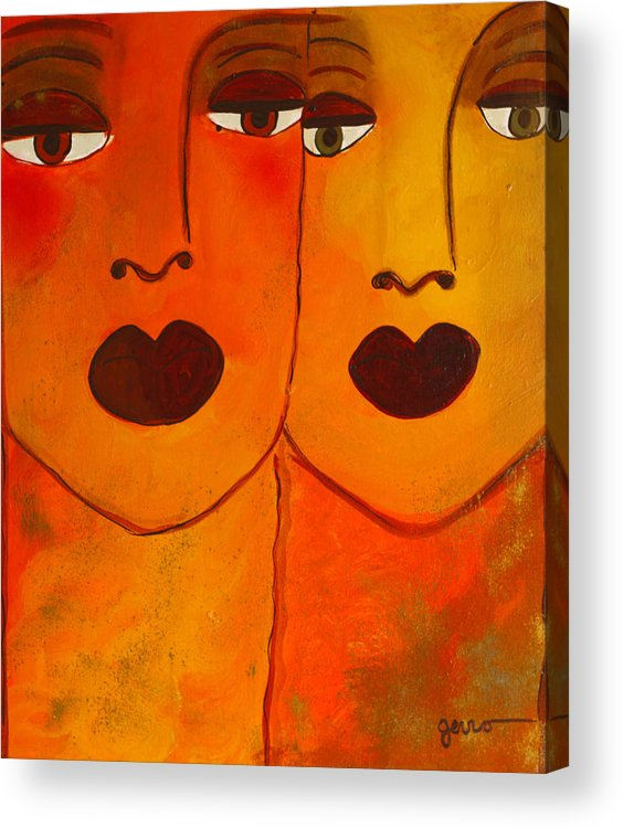 Faces Artwork Acrylic Print featuring the painting Cayenne by Helen Gerro