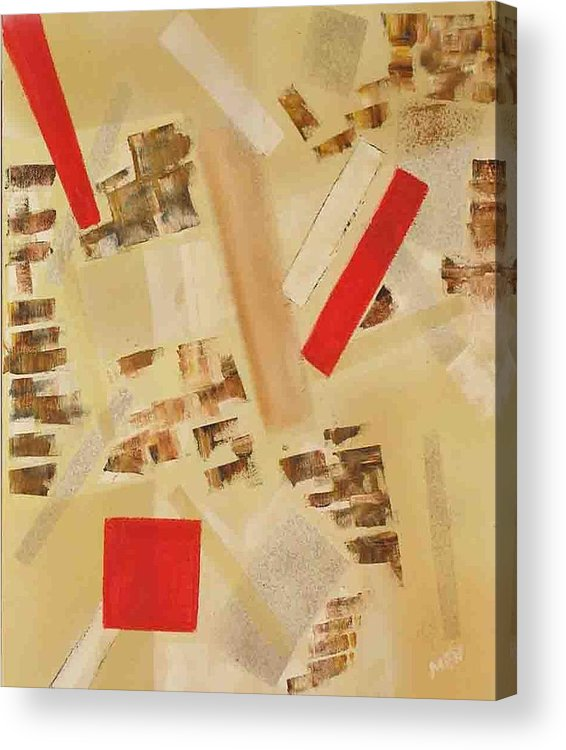 Abstract Acrylic Print featuring the painting 3 Red Objects by Evguenia Men