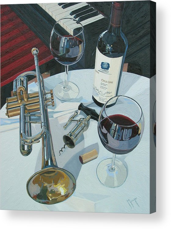 Wine Art Acrylic Print featuring the painting A Measure Of Opus by Christopher Mize
