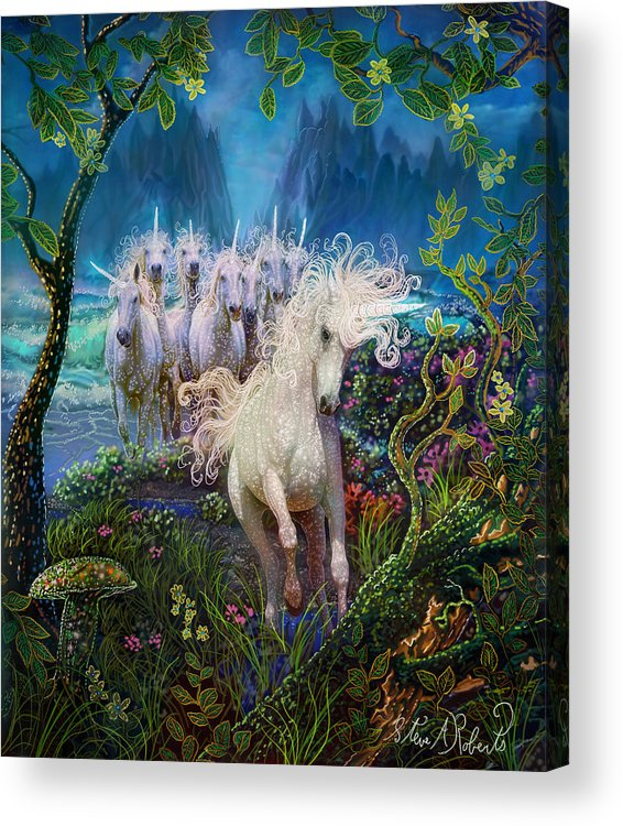 Unicorns Acrylic Print featuring the painting A Run On The Beach by Steve Roberts