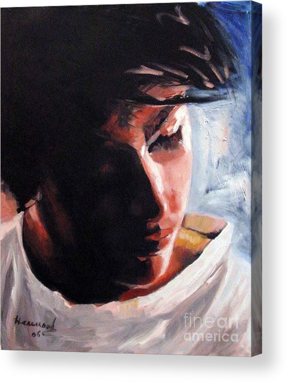 Portrait Acrylic Print featuring the painting Adam by Ali Hammoud