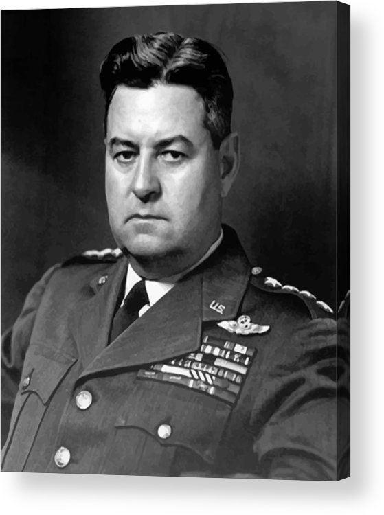 Curtis Lemay Acrylic Print featuring the painting Air Force General Curtis Lemay by War Is Hell Store