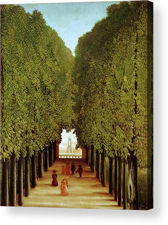 Henri Acrylic Print featuring the painting Alleyway In The Park by Henri Rousseau