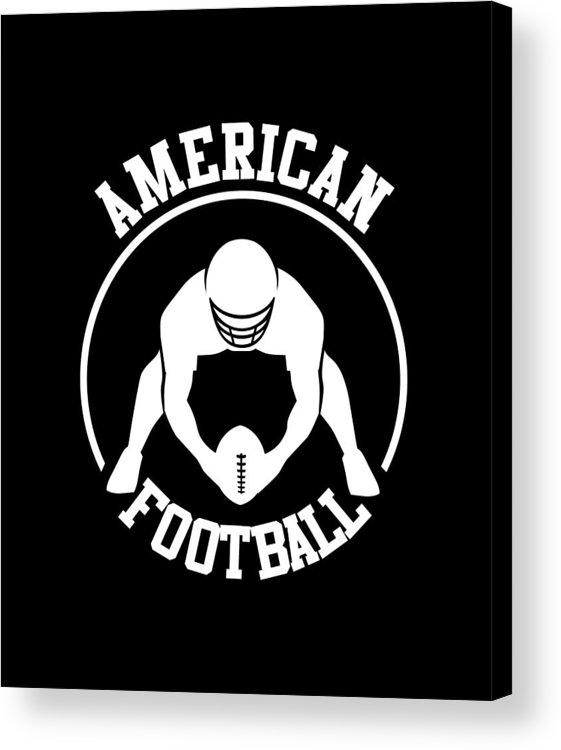 American Football Player Acrylic Print featuring the drawing American Football Player With Ball And Helmet by Daniel Ghioldi