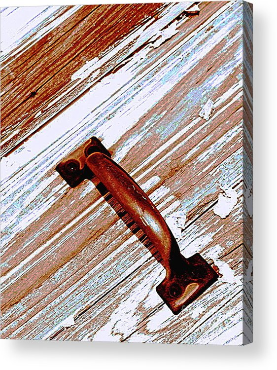 Wood Acrylic Print featuring the photograph Bronze Handle by Colleen Kammerer