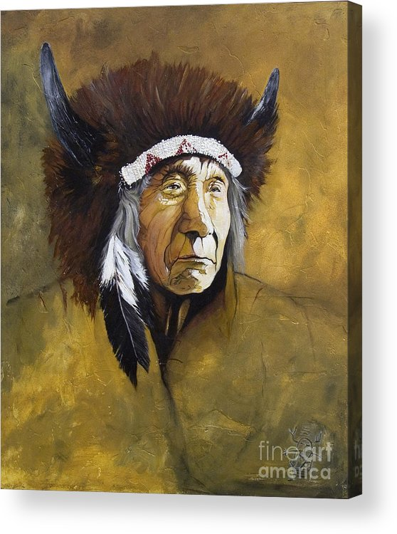 Shaman Acrylic Print featuring the painting Buffalo Shaman by J W Baker