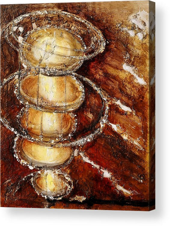 Circles Light Bright Colors Red Brown Mixed Media Yellow Movement Oils Wax Capturing Spirit Original Acrylic Print featuring the painting Capturing Spirit by Martine Letoile