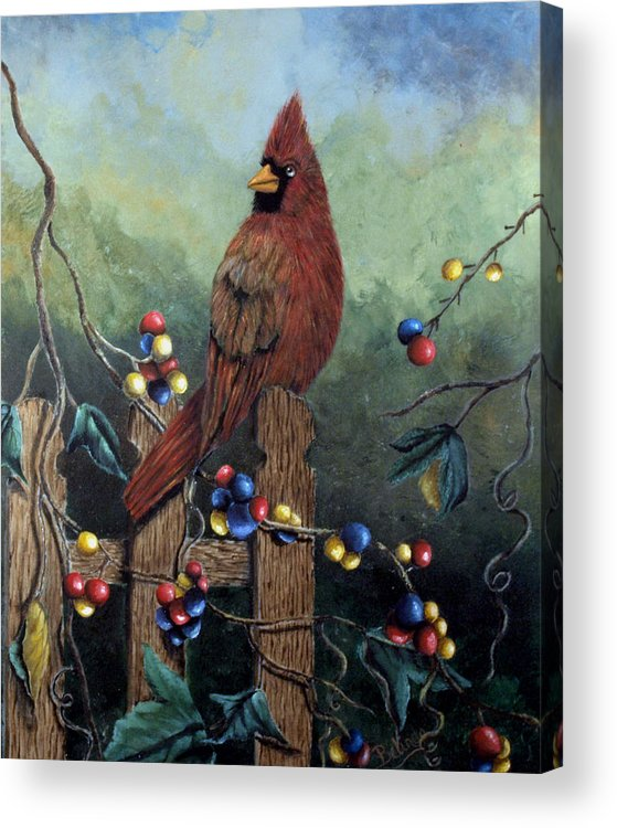 Cardinal Acrylic Print featuring the painting Cardinal Sitting On A Fence by Belinda Buckler