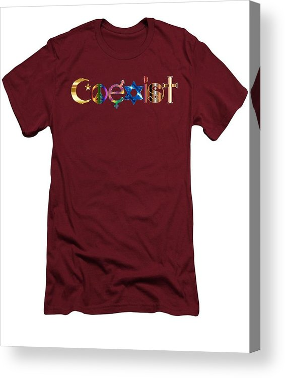 Coexist Acrylic Print featuring the digital art Coexist by T Shirts R Us -