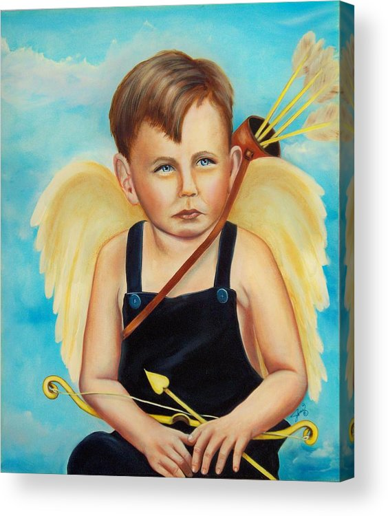Angel Acrylic Print featuring the painting Cupid by Joni McPherson