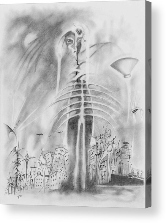 Skeleton Acrylic Print featuring the drawing Decline Of Western Culture by Daniel Culver