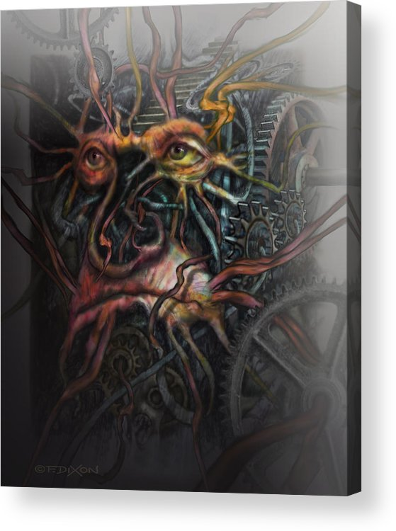 Watercolor Acrylic Print featuring the painting Face Machine by Frank Robert Dixon