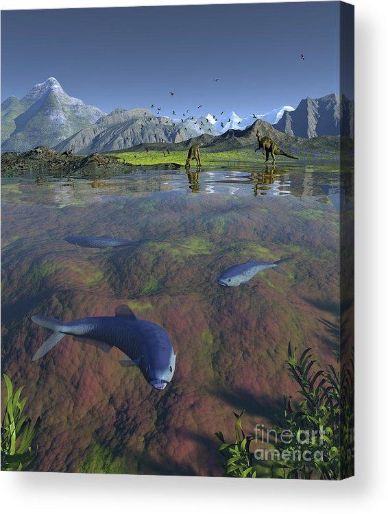 Earth Acrylic Print featuring the digital art Fanged Enchodus Predatory Fish by Walter Myers