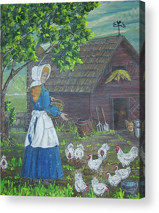 Barn Acrylic Print featuring the painting Farm Work I by Phyllis Mae Richardson Fisher