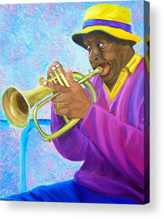 Street Musician Acrylic Print featuring the painting Fat Albert Plays The Trumpet by Michael Lee