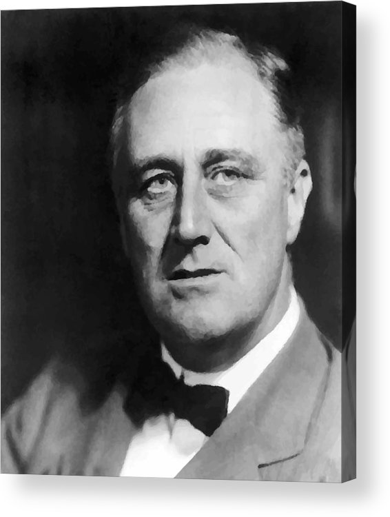 Franklin Roosevelt Acrylic Print featuring the painting FDR by War Is Hell Store