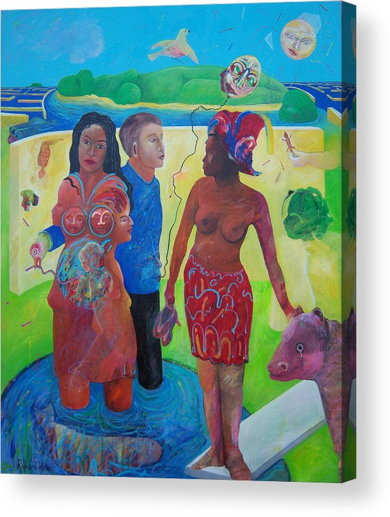 Human Relationships Acrylic Print featuring the painting Fishing For Chance Answers by Richard Heley