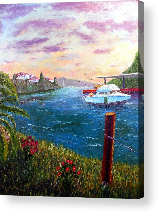 Original Oil On Wood Panel Acrylic Print featuring the painting Harbor by Stan Hamilton