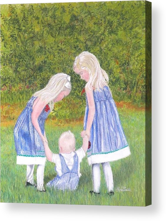 Children Acrylic Print featuring the pastel Helping Hands by Lisa Bell