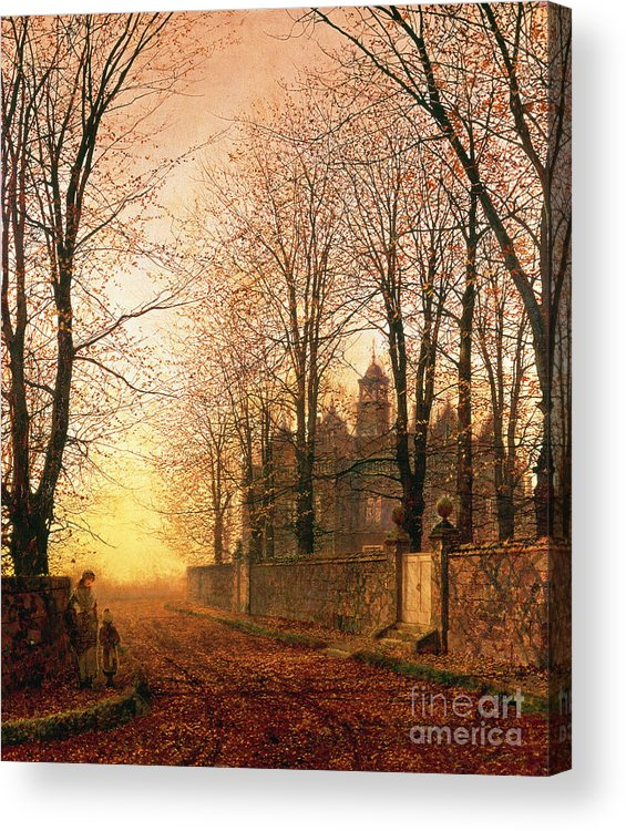 In The Golden Olden Time Acrylic Print featuring the painting In The Golden Olden Time by John Atkinson Grimshaw