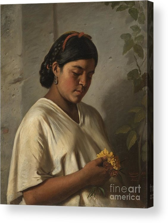 Indian Woman With Marigold (mujer Ind�gena Con Cempas�chil) Felipe Santiago Guti�rrez (mexico Acrylic Print featuring the painting Indian Woman With Marigold by MotionAge Designs
