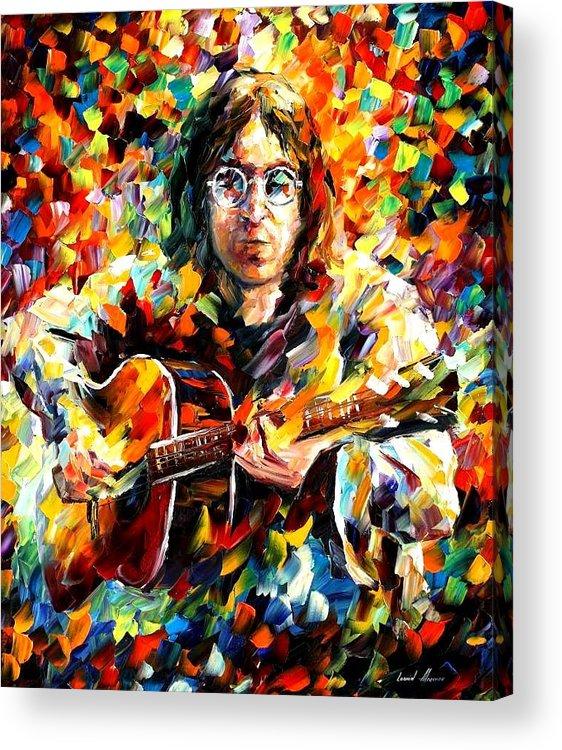 Beatles Acrylic Print featuring the painting John Lennon by Leonid Afremov