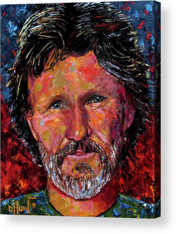 Waylon Jennings Acrylic Print featuring the painting Kris by Debra Hurd