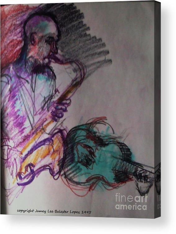 Jazz Art Acrylic Print featuring the drawing Latin Jam by Jamey Balester