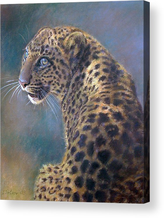 Cats Acrylic Print featuring the painting Leopard by Iliyan Bozhanov